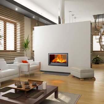 Woodfire RX DS double sided inset boiler stoves